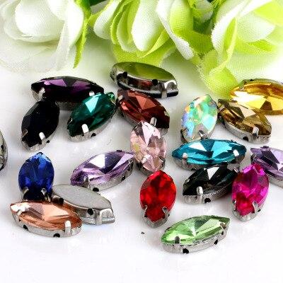 ¡4x8mm más color! Ojo de caballo de cristal de diamantes de imitación jeans DIY Mujer y vestidos de boda 30 Uds