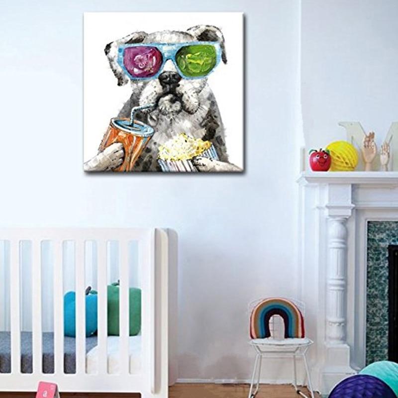 Gran tamaño 100% pintado a mano de pintura al óleo sobre lienzo abstracto imagen artística de animal para chico de habitación feliz cuadros de perros