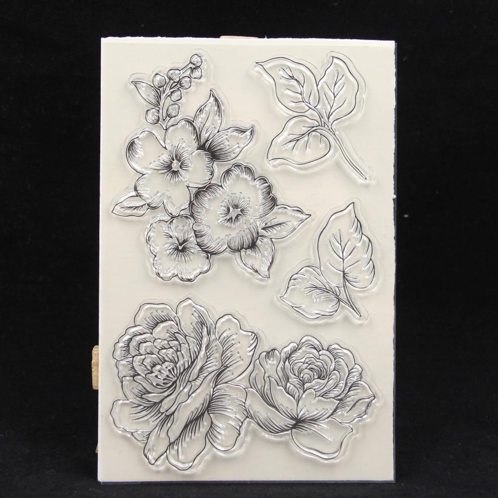 ZFPARTY большие цветы прозрачный силиконовый штамп/печать для DIY скрапбукинга/фото декоративная открытка для альбома