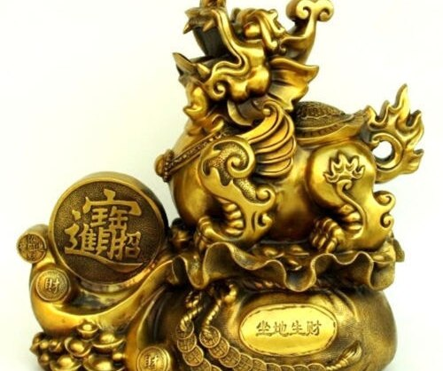Belle Statue décorative chinoise en laiton   animal sauvage, pi xiu, artisanat, Statue