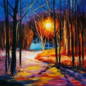 Pintura al óleo abstracta de alta calidad, luces de noche sin marco pintando fotos de alta impresión Digital, imágenes de pared
