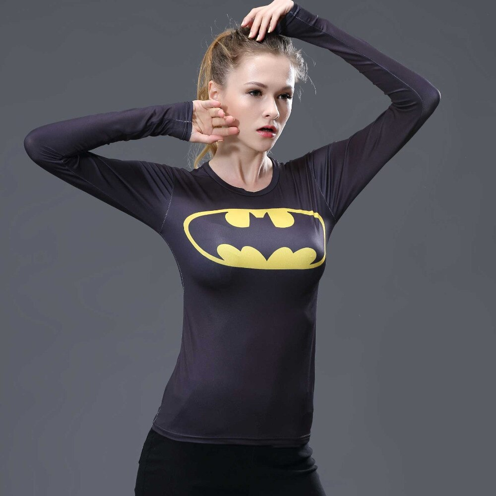 Женская футболка с 3D принтом Бэтмена и Супермена, Женская компрессионная рубашка с длинным рукавом реглан, костюм для косплея, топы для фитнеса, женская футболка women compression shirt printed t shirt woment shirt women   АлиЭкспресс