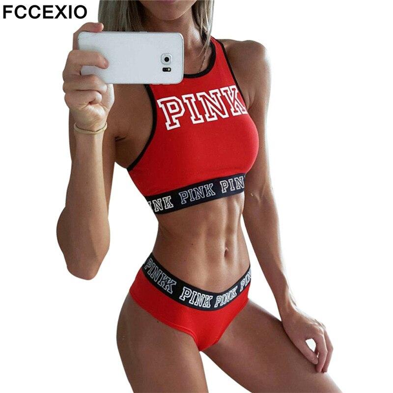 FCCEXIO 2019 Neue Sexy Frauen Tank Tops Quick Dry Eng Fitness Sleeveless Liebe Rosa Brief Druck Singulett Übung Workout T-Shirt