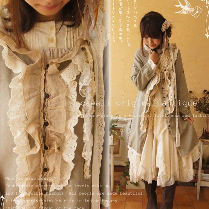 Otoño de Harajuku Mori chica Lolita chaqueta de las mujeres borla Multi capa botón único Breasted mujer Kawaii dulce chaqueta abrigo A141