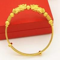 women adjustable bangle yellow gold filled vintage style bracelet