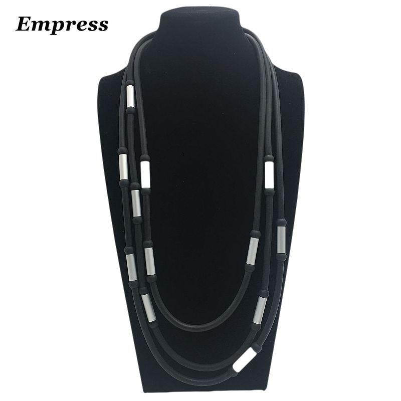 La serie de joyería de la emperatriz DIY dice que el collar de tubo de aluminio de espuma suave retro con cuentas hechas a mano es collar de la suerte XL012.