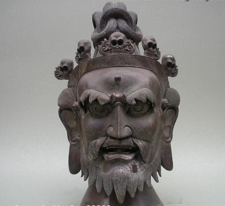 """Huij 006556 14 """"Тибетский народный 100% чистый Бронзовый Череп голова волшебника буддистский обряд статуя"""