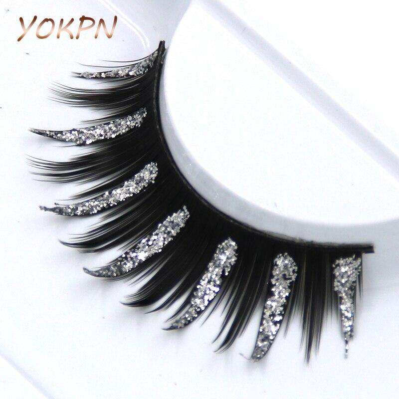 Pestañas postizas cruzadas exageradas YOKPN Art, pestañas postizas gruesas plateadas, lentejuelas ahumadas, maquillaje de escenario, lentejuelas, pestañas postizas