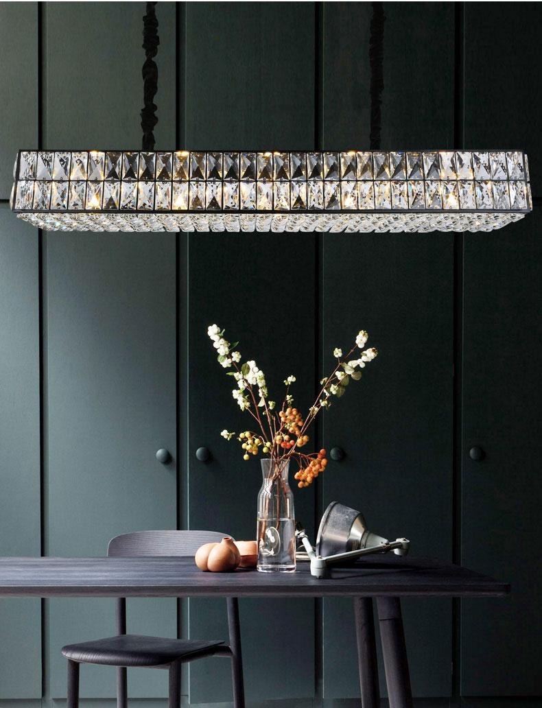 مصباح قلادة كريستال صندوق مستطيل معلق مصباح فاخر مطلي باللون الأسود إضاءة داخلية لغرفة المعيشة