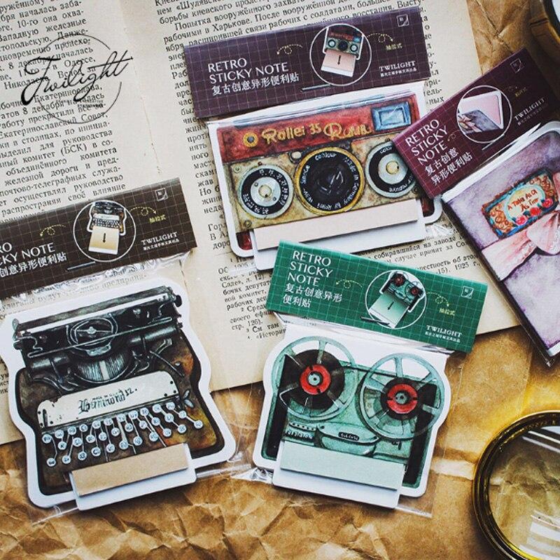 1X rétro créatif série autocollants pratiques mémo Pad étudiant papeterie Message autocollants papier dessin animé cadeau promotionnel