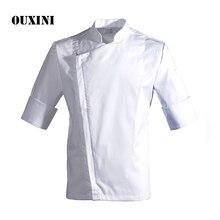 Summer male chef's white shirt chef costume  kitchen cook jacket Restaurant Uniform Barber Shop Workwear Overalls