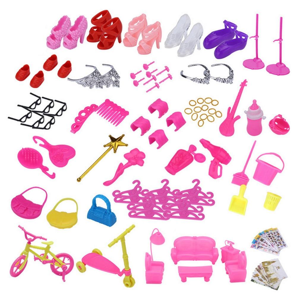 128 Uds. Kit completo Dolsl divertido zapatos de tacón alto accesorios para el cabello Herramientas de limpieza sofá para Barbie juguetes casa niñas niños regalos