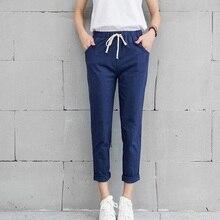 Hot Chic loisirs coton lin pantalons longs femmes taille élastique poches pantalons amples grande taille 2XL pantalon décontracté pantalons de loisirs