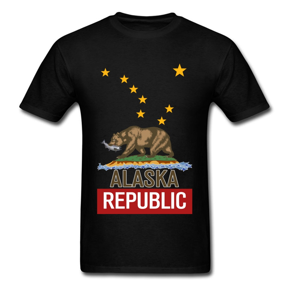 Alaska Republic Bear T-shirt Pure Cotton Tshirt Men T Shirt Cartoon Design Shirts Classic Funny Tee-Shirts Top Quality Clothes