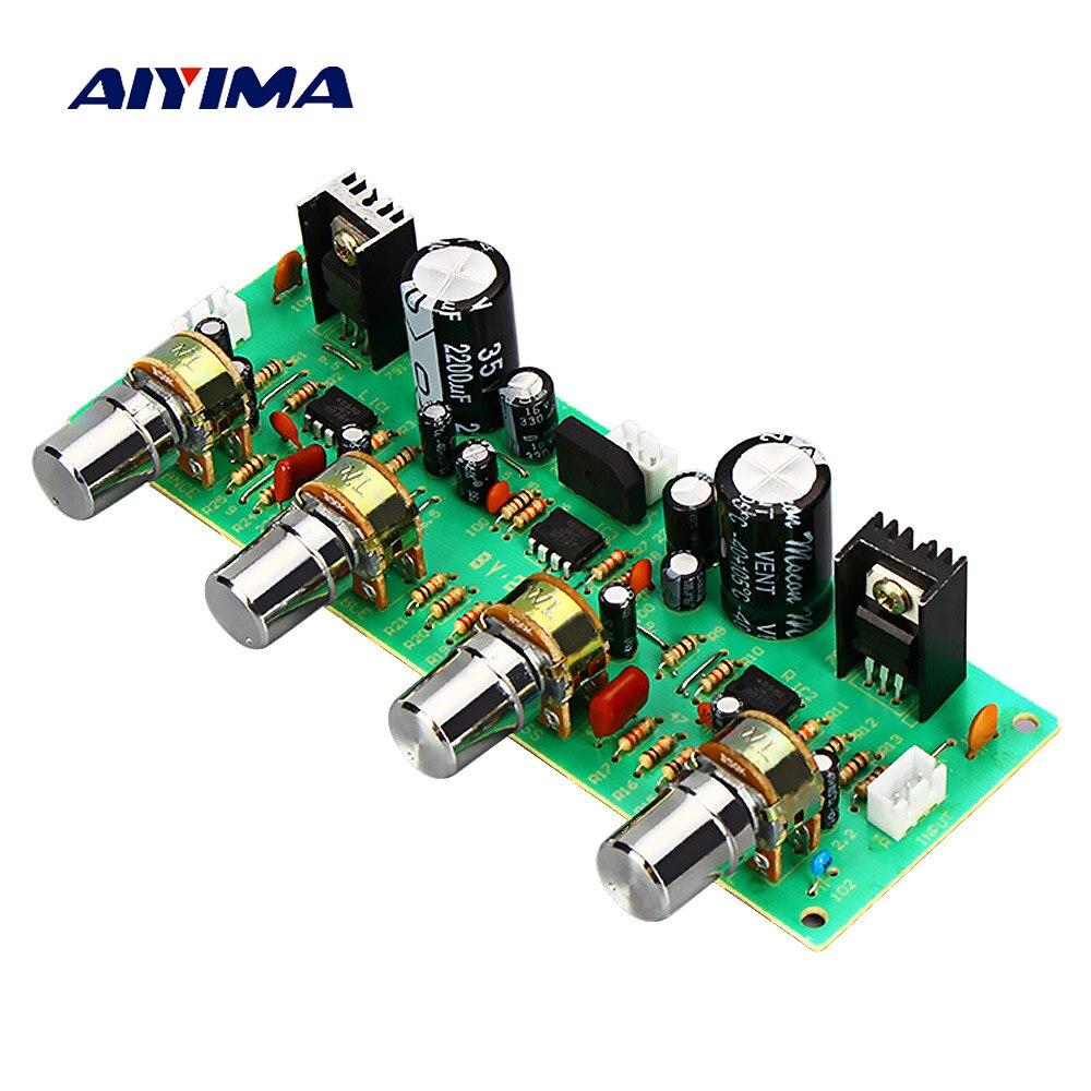 AIYIMA 2,0 NE4558 Audio Vorverstärker Bord Höhen Bass Balance einstellbar Audio Preamp Board Mit Ton Control Dual AC 12- 15