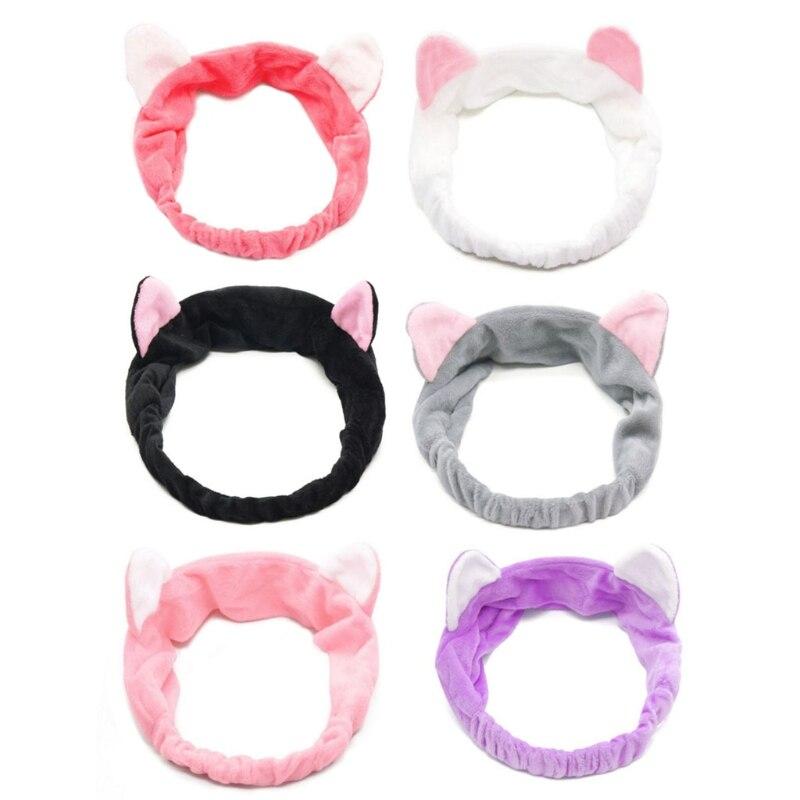 Повязка на голову с кошачьими ушами для девушек и женщин, эластичная повязка на голову для душа