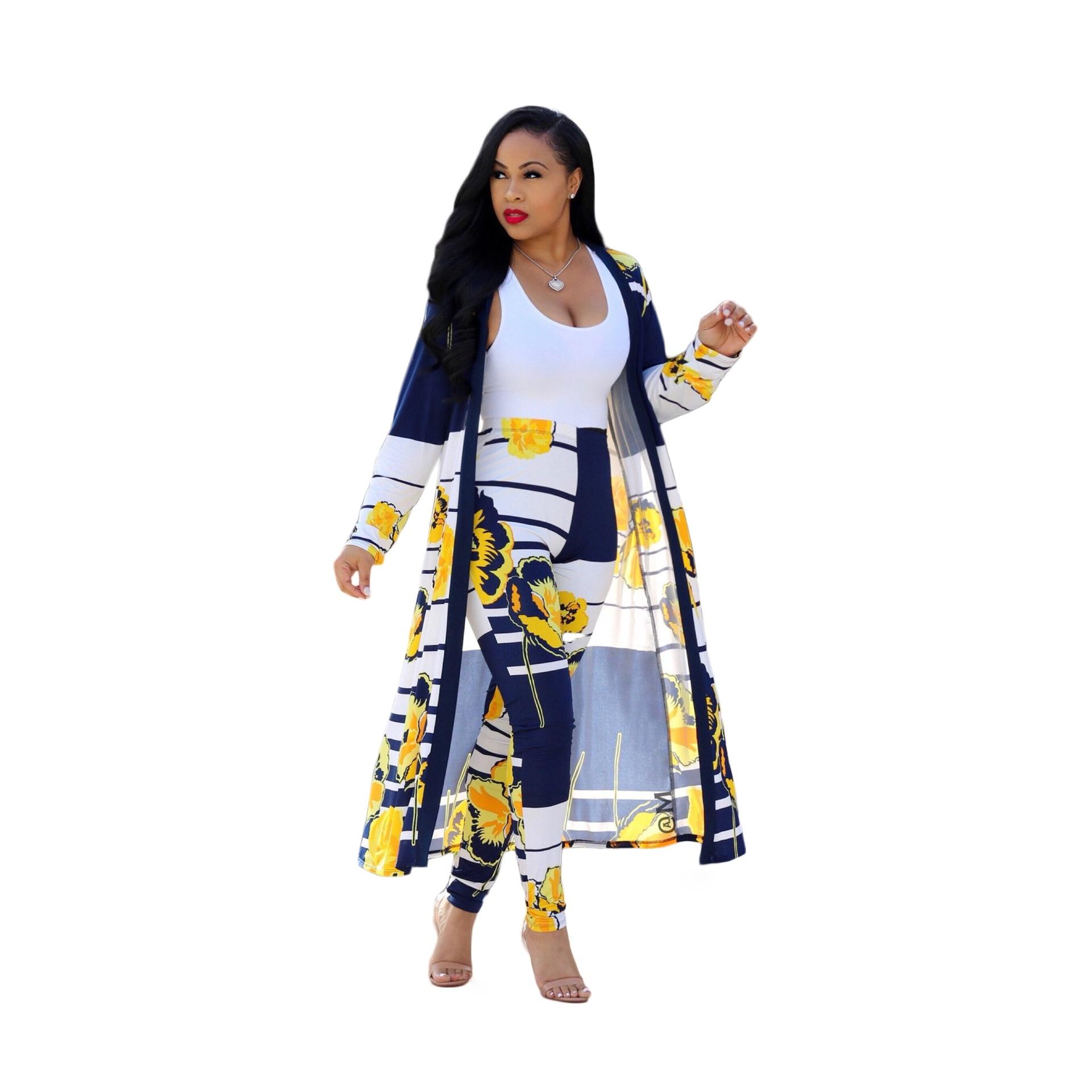 Mujer 2 piezas Ponchos otoño retazos manga larga abrigo femenino amarillo azul capa suelta mujeres abierto Stitc traje y largo conjunto de pantalones