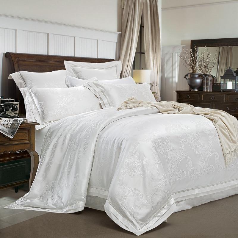 4/6 Pcs Luxury White Golden Red King Queen size Wedding Bedding Sets Satin Cotton Jacquard Bed sheet Duvet cover set Pillowcases