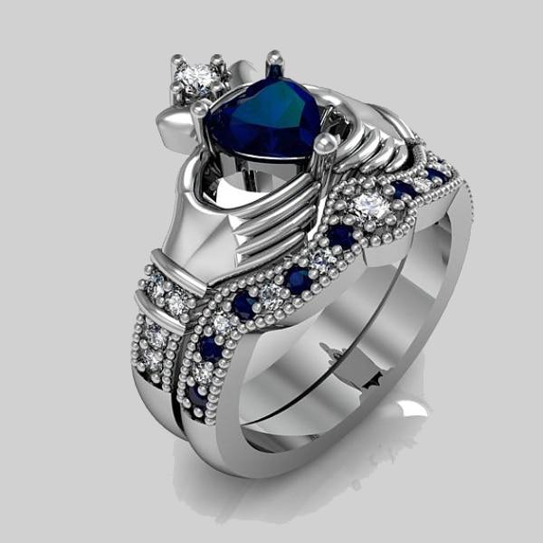Роскошное 2017 Акция кольцо для пары обручальное серебряное кольцо с синим сердцем cz claddagh кольцо