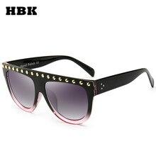 HBK Woman Flat Top Oversized Sunglasses IMPROVE Version Rivets Cat Eye Sunglasses Luxury Brand Designer Eyewear For Female Sol