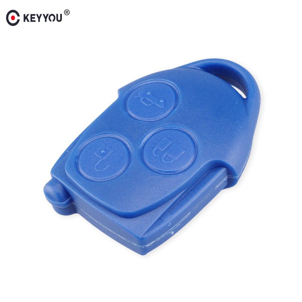 KEYYOU 3 botón Conectar llave remota funda Fob para Ford Transit sin hoja azul