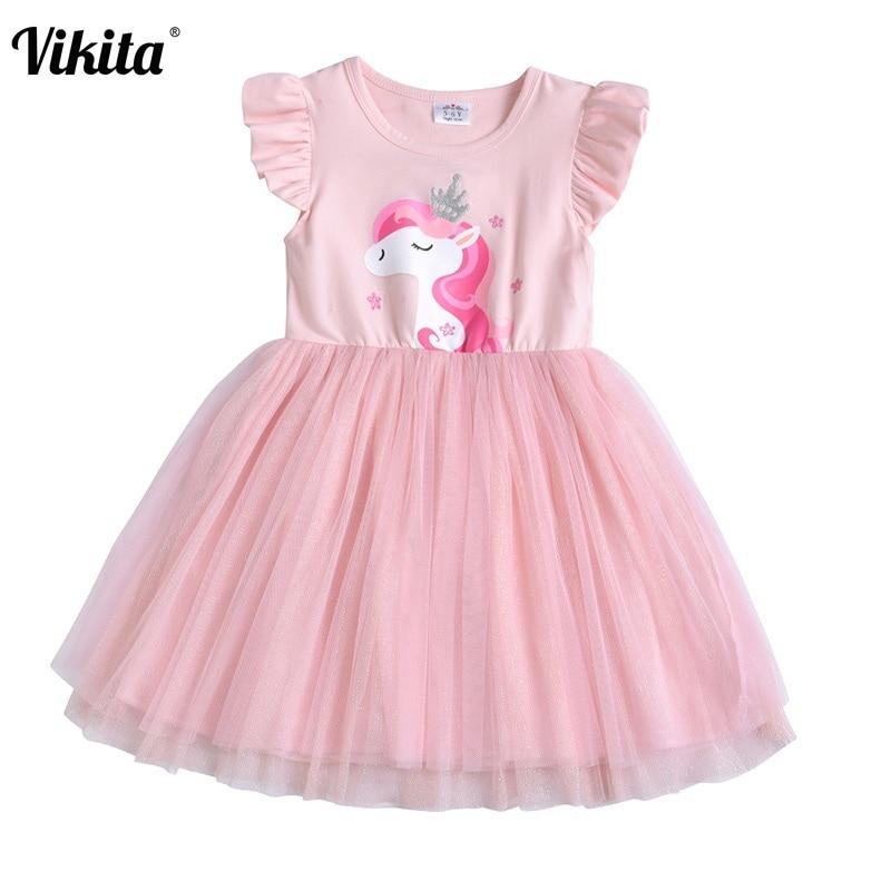 Летние платья VIKITA для детей ясельного возраста, розовые платья-пачки для девочек, детские костюмы на день рождения, свадьбу, платье для девочек с изображением единорога и бабочки
