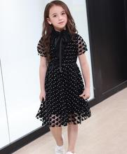 Girls Dresses 2019 Teens Girl Summer Fashion Black Dots Heart Bow Party Tutu Dress Kids Clothes Girls 6 7 8 9 10 11 12 14 Years