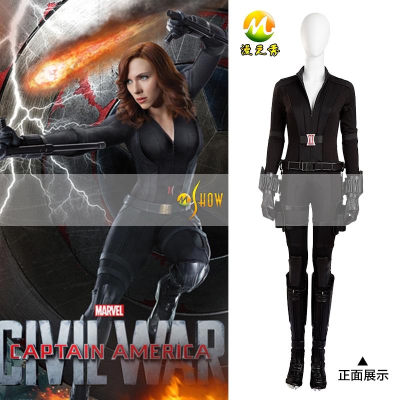 Alta calidad Capitán América guerra Civil Viuda Negra Cosplay disfraz Capitán América 3 Cosplay vestido Halloween Cosplay envío gratis