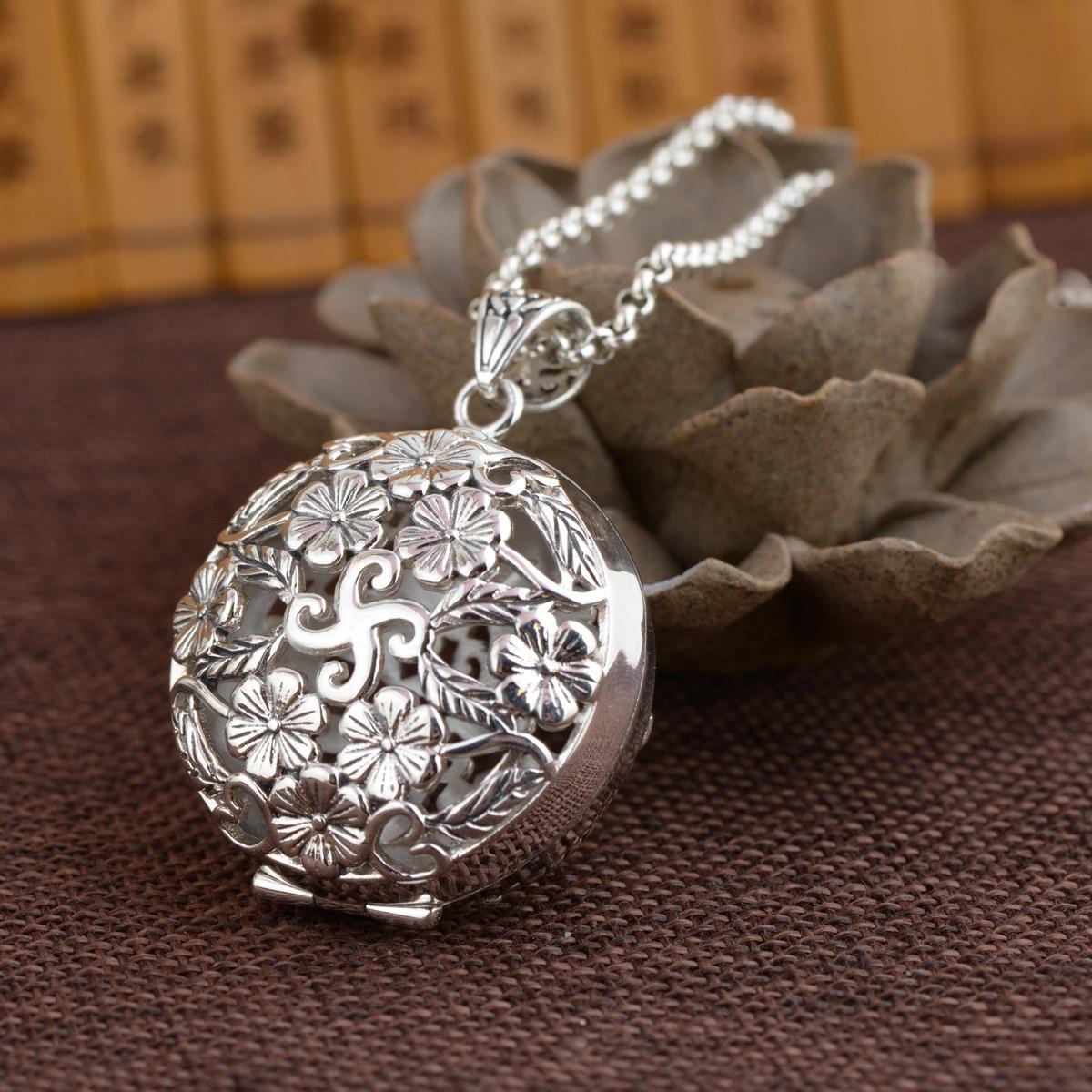 S925 prata thai vintage artesanato pingente budista cultura caixa mantra severo