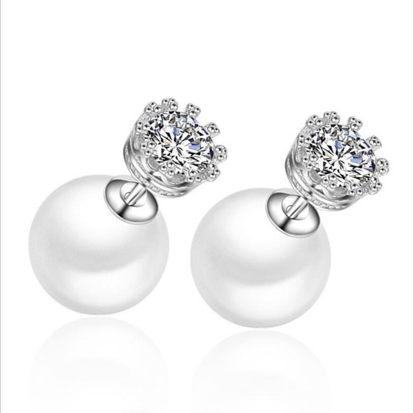 ANENJERY de Color plata de circón cúbico corona pendientes cortos de perlas dobles dos usar formas de la joyería para las mujeres S-E70
