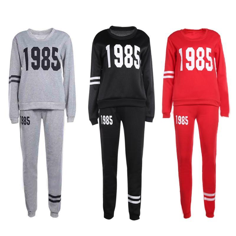 Conjunto de 2 uds de ropa deportiva para mujer con estampado de figura 1985, Conjunto de sudadera informal de otoño y primavera para mujer, conjunto de pantalones largos