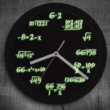 1Piece Math Formula Pop Equation Luminous LED Neon Effect Wall Clock Math Wall Clock With LED illumination For Math Lover G