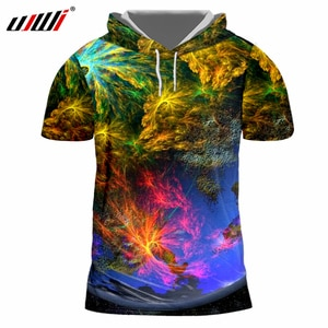 UJWI Men Casual Tshirts New Arrival 3d Cool Print Sea World Coral T-shirt With Hood Man Brand Clothes Short Sleeve Hoodies Shirt