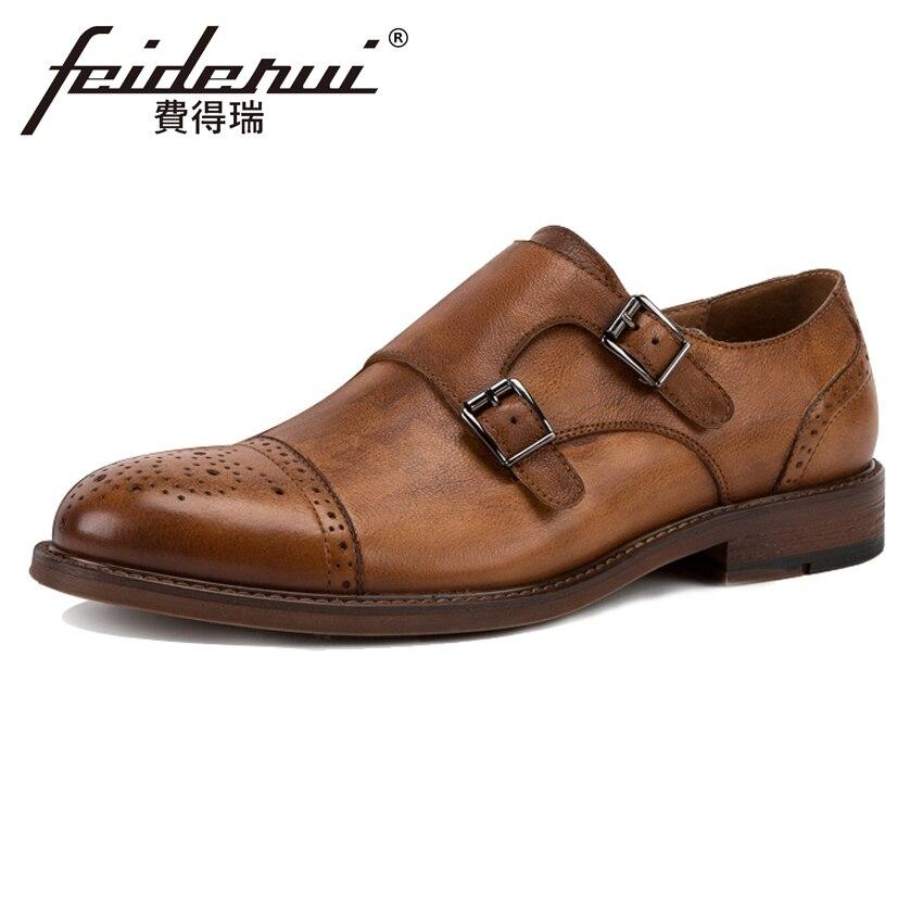 Vintage British Designer Genuine Leather Men's Double Monk Straps Flats Round Toe Handmade Man Formal Dress Brogue Shoes KUD39