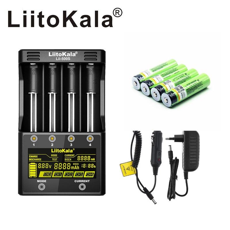 Nouveau LiitoKala lii-500S 3.7 V 18650 26650 chargeur + 4 pièces 3.7 V 18650 3400 mAh INR18650B batterie Rechargeable pour batteries de lampe de poche