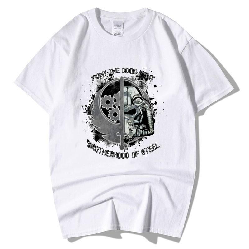 Camiseta de videojuegos para hombre, camisetas divertidas de buena lucha de la Hermandad de acero, Nerd Fallout Brotherhood of Steel Armor Homme