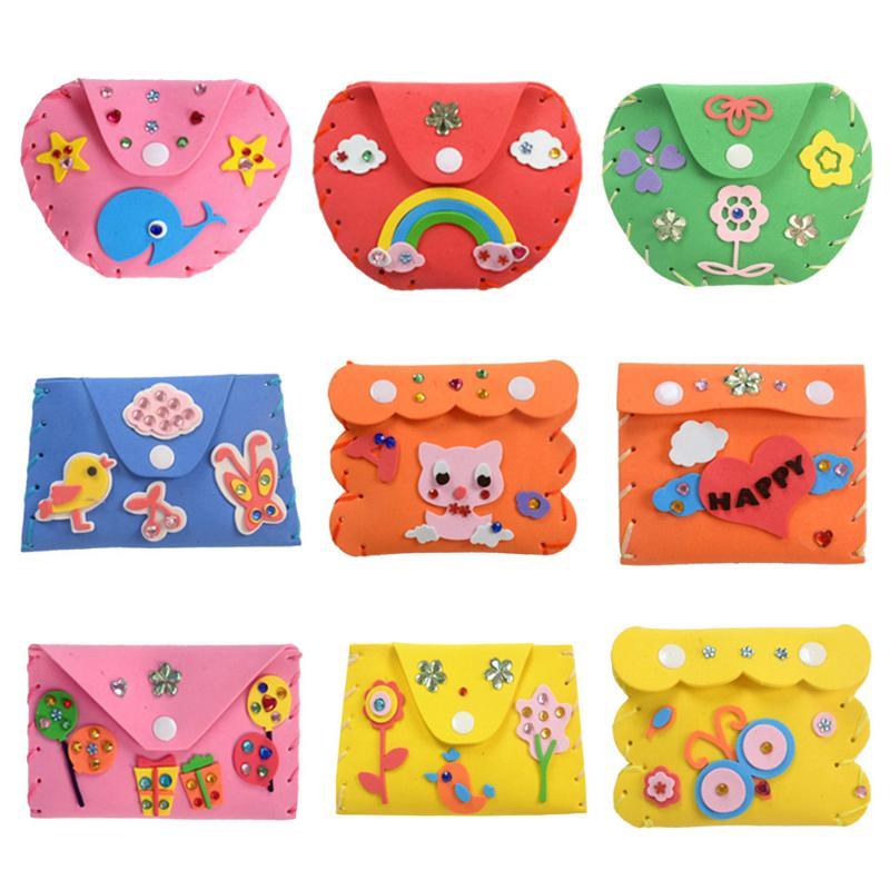 Crianças diy artesanato kits 3d quebra-cabeça brinquedos crianças dos desenhos animados diy espuma carteiras bolsa criança artesanal artesanato caso chave brinquedos educativos