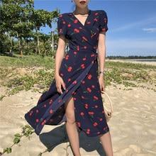 Summer Print Cherry Dress Women V Neck Short Sleeves Chiffon Bohemian Dresses Beach Knee Length Female Wrap Dress
