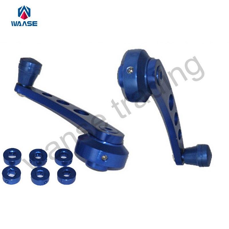 Car Accessories Universal Manual Door Handle Crank Window Winders Truck Pickup Shaft Adapter Winders Set Kit Blue