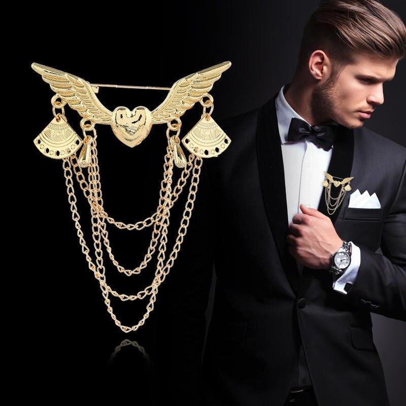 De corazón de Metal alas oro broches Vintage borla Multi-capa de Pin para solapa de cuello traje pernos de La Broche hebilla de los hombres de las mujeres Accesorios