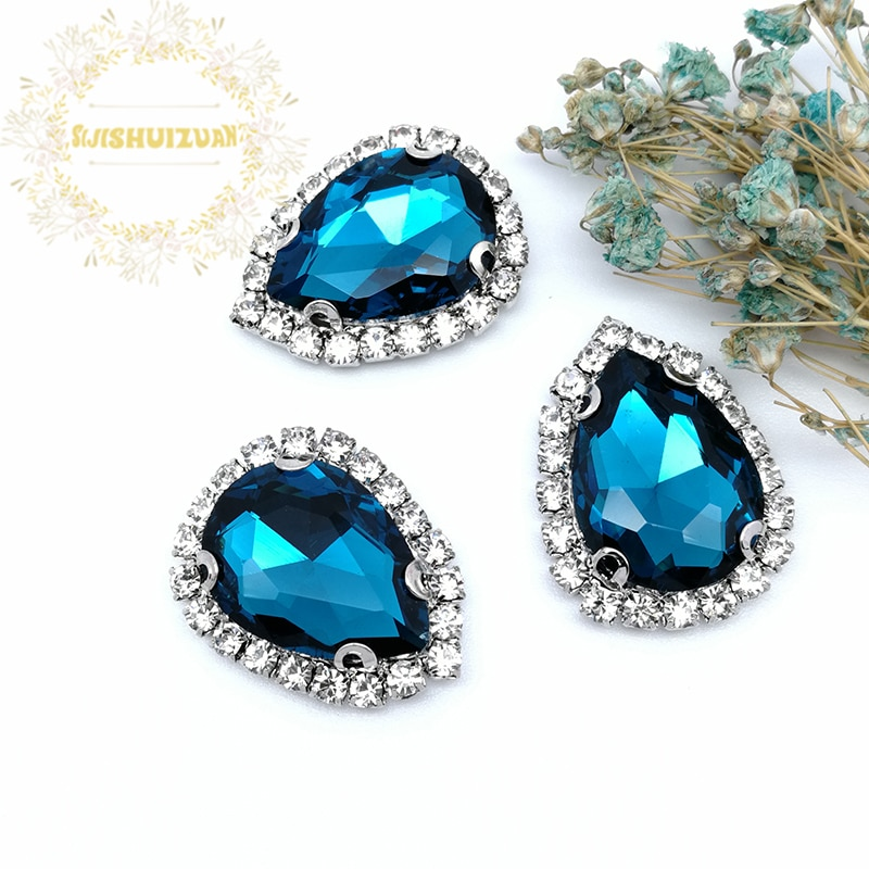 Pavo Real azul DR Drill cadena lateral Crista cristal costura diamantes de imitación con garra DIY mujeres Shose y vestidos de boda