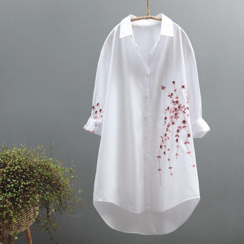 Vestido de verano de talla grande 2020 100% de algodón bordado floral Vestido de manga larga mujeres Casual robe femme blanco vestido de Camisa larga