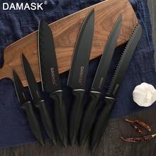 Damask Chef Knife Sets 6pcs Cooking Knives Japan Santoku Utility Knife Cut For Vegetable Meat Fish Professional Kitchen Knives