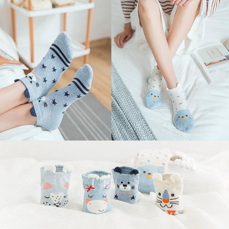 5 pares de calcetines de algodón para mujeres calcetines de lindos animales gato perro verano calcetines cortos Kawaii Ear calcetines divertidos de barco bajo calcetín rojo de corazón girl tobillo
