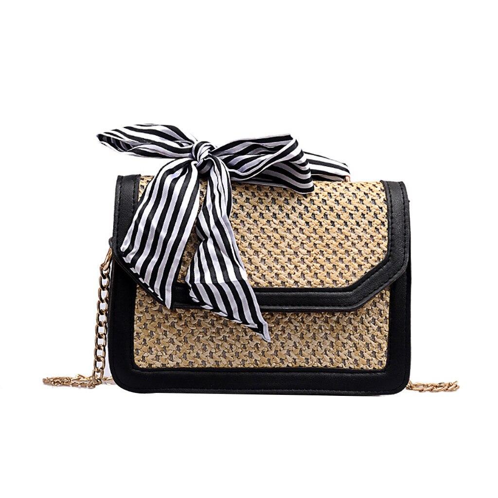 Bolsos para mujeres 2019 moda salvaje Simple bolso de mensajero para chicas mujeres cadena paja playa costura pequeño bolso cuadrado de hombro K522