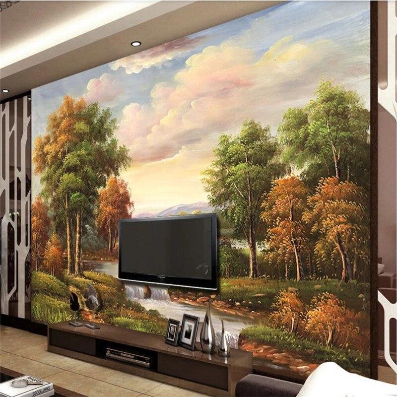 خلفية مخصصة الشمال النفط اللوحة تلفزيون المشهد حائط الخلفية الفن اللوحة الزخرفية