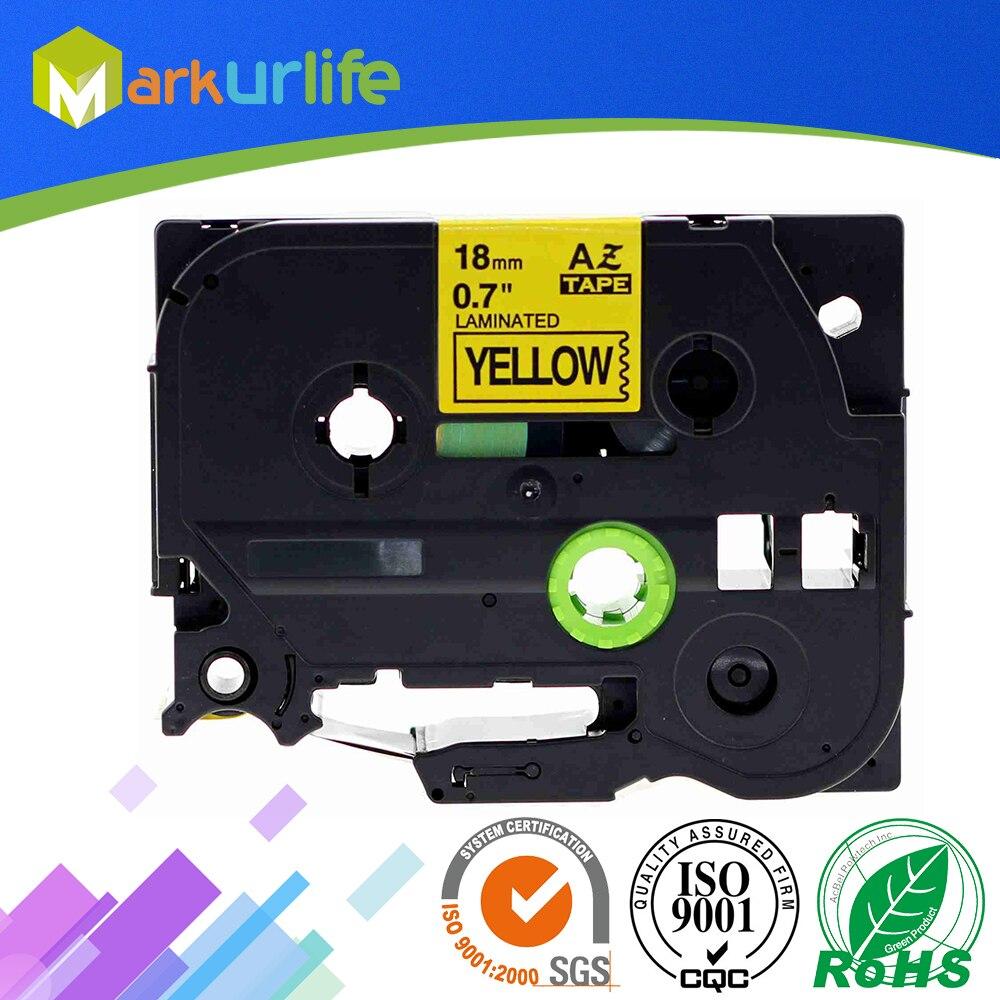Ламинированная лента TZE641 Tze641, 1 упаковка, совместима с TZe-641 Brother P-Touch, Adhensive tze641 (черный, желтый, 18 мм x 8 м)