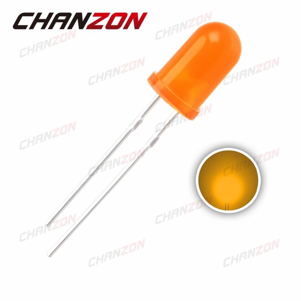 Naranja difusa de 5mm de 100 piezas (602-610nm) color redondo 2 V 20mA DIP LED diodo luz a través del agujero 5mm lámpara LED diodo emisor de luz