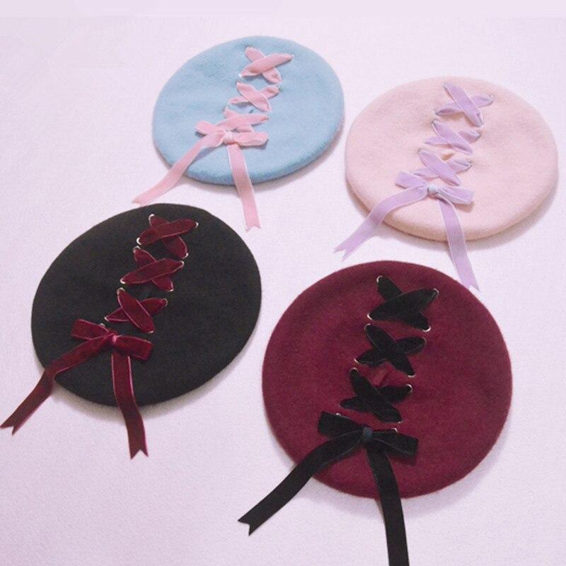 Women Sweet Cute Berets Female Hats Soft Macaron color Ribbon Woolen Lolita Beret Vintage Soft Straps Cross Bow Girls Berets