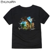Camisetas de dinosaurios de animales para niños, camisetas jurásicas de manga corta para niñas, camisetas de talla grande para niños